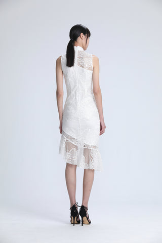 White Lace Sleeveless Asymmetric Mermaid Hem Dress