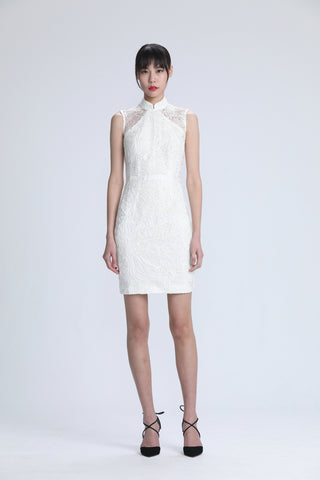 White Stripe Applique on Mesh Qipao with Waistband