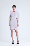 Light Grey & Fuchsia Sleeveless Knit Qipao with Removable Cape
