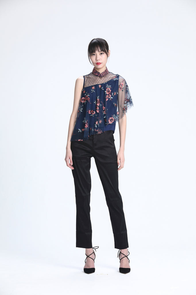 NAVY EMBROIDERED MESH DRAPERY ASYMMETRIC LACE TOP