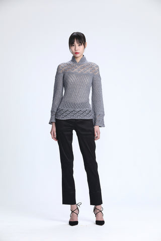 Grey Long Sleeve Pointelle Stitches Sweater