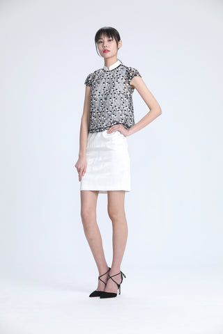 BLACK AND WHITE LACE CAP SLEEVES TOP AND SLEEVELESS WHITE RAGLAN DRESS SET