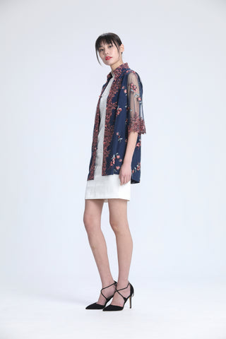Blush and Grey Floral Embroidery on Navy Mesh Quarter Sleeve Jacket