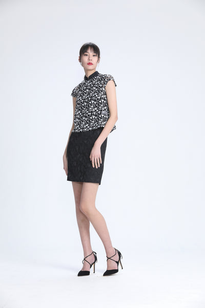 Black And White Lace Cap Sleeves Top And Sleeveless Black Raglan