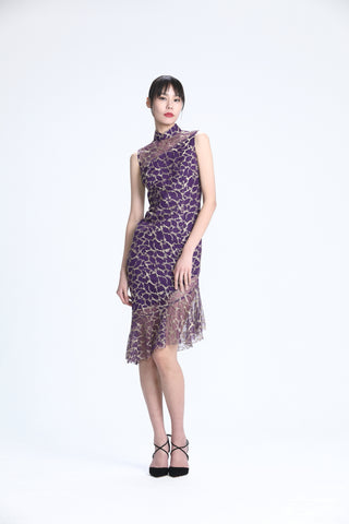 Gold Embroidery on Purple Mesh Sleeveless Asymmetric Mermaid Hem Dress