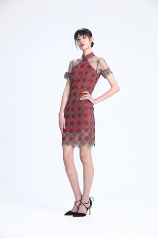 Red and Silver Rhombus Lace See-through Short Sleeves Qipao