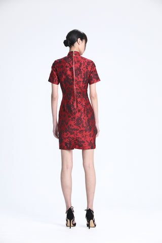 Red and Black Floral Brocade Short Sleeves Dress