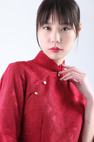 Red Abstract Jacquard Quarter Sleeves Qipao with Asymmetric Mermaid Hem