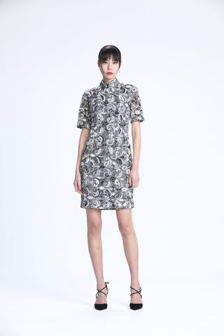 Grey and White Thread Appliqué on Mesh Quarter Sleeves Qipao