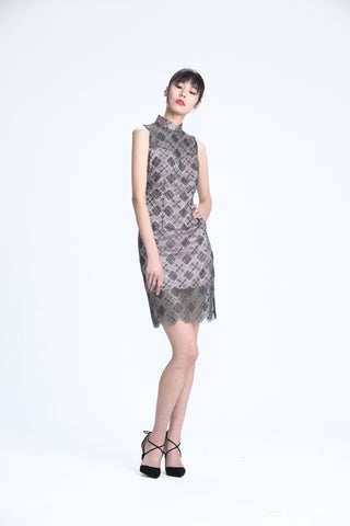 Silver and Grey Rhombus Lace on Soft Pink Lining Sleeveless Qipao