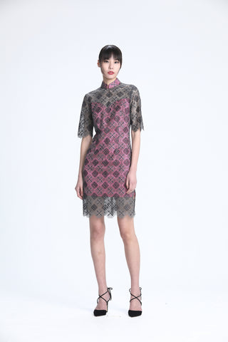 Silver and Grey Rhombus Lace on Fuchsia Lining Short Sleeves Qipao
