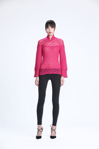 Fuchsia Long Sleeve Pointelle Stitches Sweater