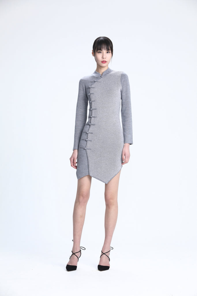Asymmetric Panel in Contrast Colors of Grey Pineapple Stitches Knit Qipao