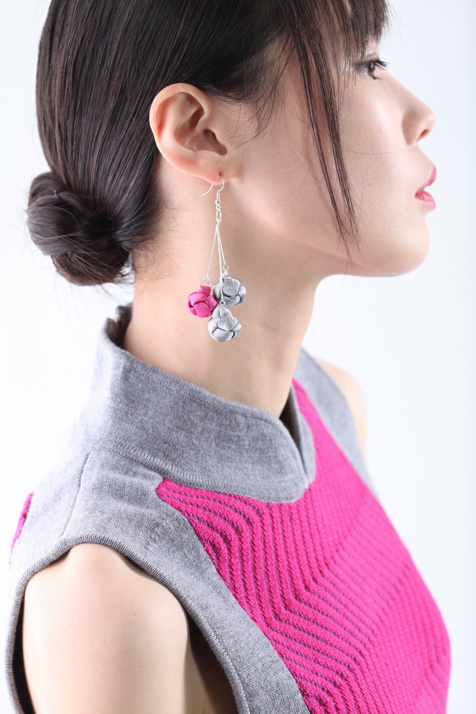 Handmade Silver & Pink Chinese Knots Earrings - Yi-ming