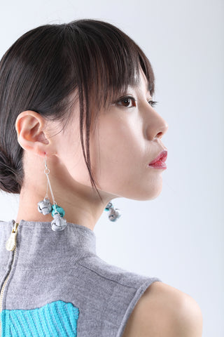 Handmade Silver & Green Chinese Knots Earrings