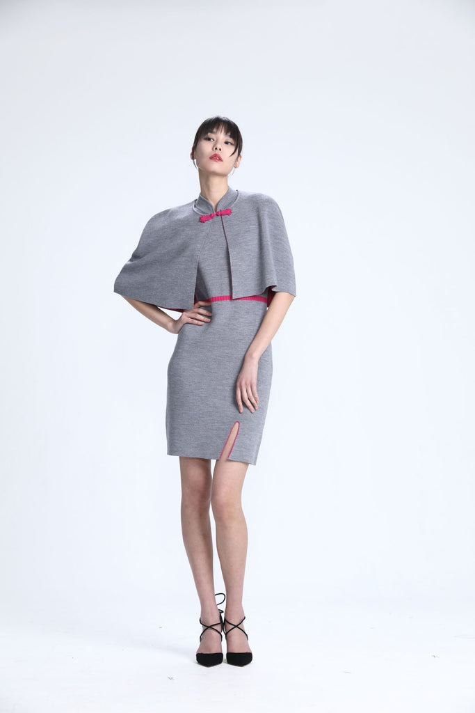 Medium Grey & Fuchsia Sleeveless Knit Qipao with Removable Cape