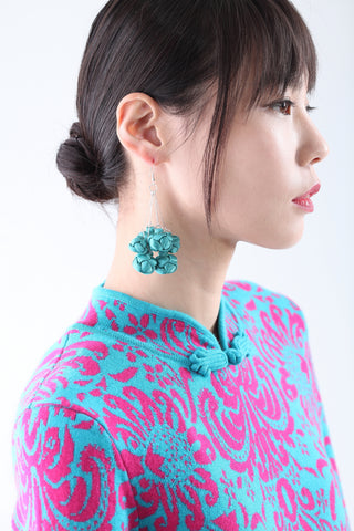 Handmade Bunch Green Chinese Knots Earrings