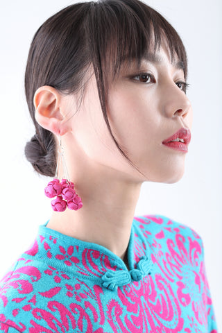 Handmade Bunch Pink Chinese Knots Earrings