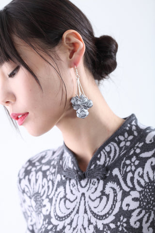 Handmade Bunch Silver Chinese Knots Earrings