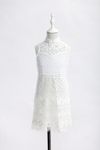 Kids White Floral Lace Qipao