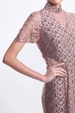Pink Lace Short Sleeves Qipao with See-through Waist