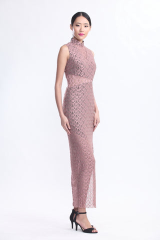 PINK LACE SLEEVELESS LONG LENGTH QIPAO WITH SEE-THROUGH WAIST