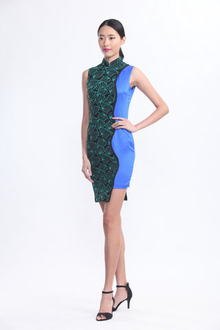 Green Lace and Blue Silk Contrast Qipao