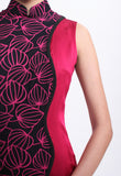 Pink Lace and Silk Contrast Qipao