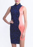Blue Lace and Peach Silk Contrast Qipao