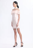 Light Pink Lace Ruffles Bardot Qipao