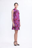 Rose Wine Sleeveless Shift Dress with Pink Rose Embroidered Sheer Top Layer