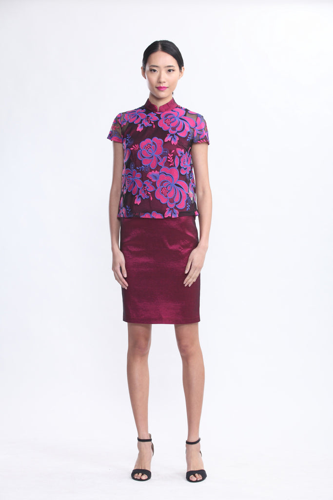 Rose Wine Qipao with Pink Rose Embroidered Sheer Top