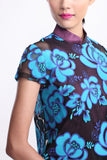 Pink Qipao with Blue Rose Embroidered Sheer Top