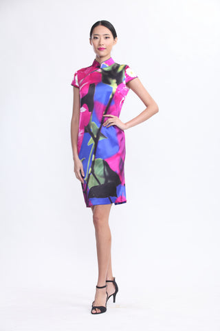 Pink Bougainvillea and Blue Sky Print Silk Qipao
