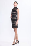 Black Lace and Nude Stripe Sleeveless Qipao