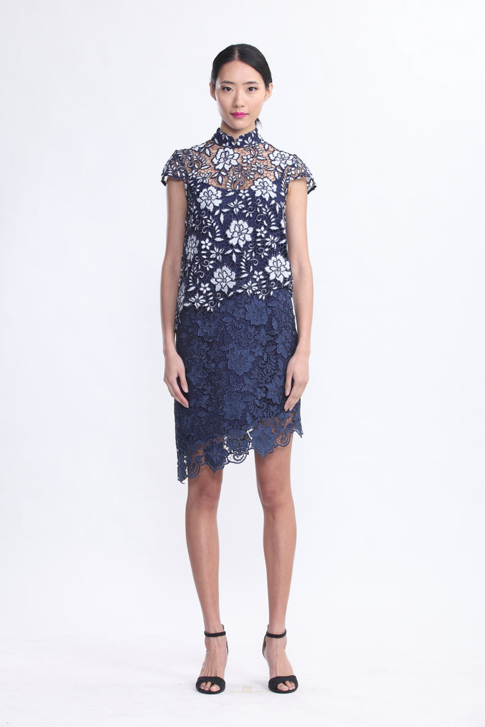 Navy and White Floral Lace Top and Dress Set