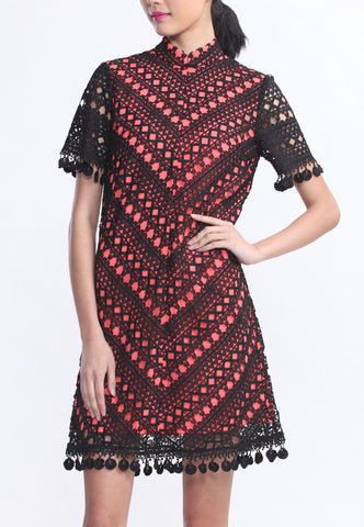 Black Lace Short Sleeves Diagonal Dress