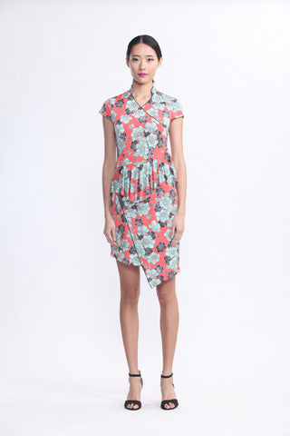 Orange Venezia Print Jersey Dress with Ruffles At Waist