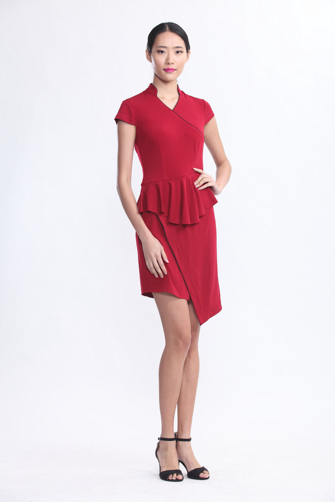 Burgundy Jersey Dress with Ruffles At Waist