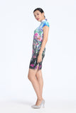 Pink Crape Myrtle Tree Digital Print Cap Sleeves A-line Silk Qipao