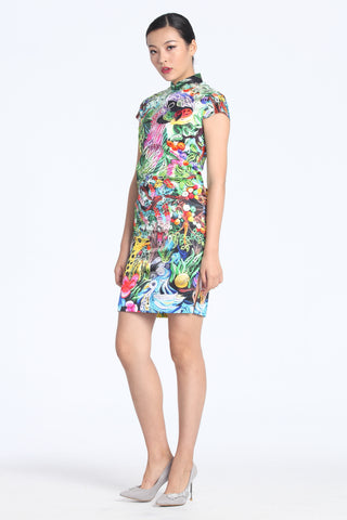 Jungle Paper Art Digital Print Cap Sleeves Silk Qipao