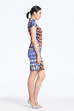 Rainbow Lights City Hall Digital Print Cap Sleeves Silk Qipao