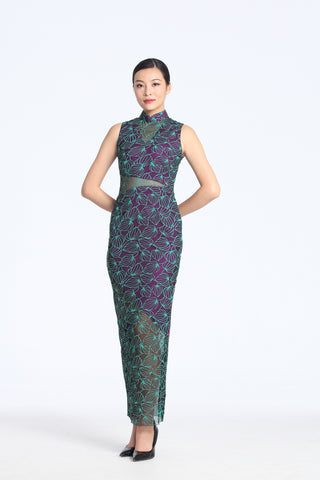 Green Leaves Devore Sleeveless Long Length Qipao With See-Through Waist