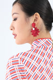 Handmade Chinese Floral Knot and Pearl Button Earrings Red - Yi-ming
