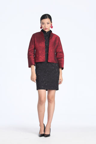 Red And Black Floral Brocade Reversible Oriental Jacket