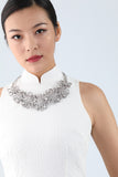 Handmade Silver Oriental  Buttons Necklace With Square Shape Crystal - Yi-ming