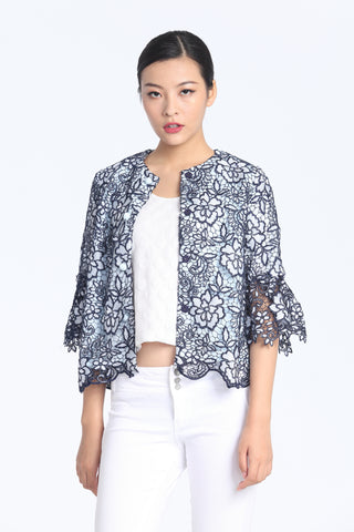Navy & White Floral Lace Ruffled Quarter Sleeves Jacket