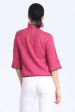 Fuchsia Quarter Trumpet Sleeves Oriental Knit Top