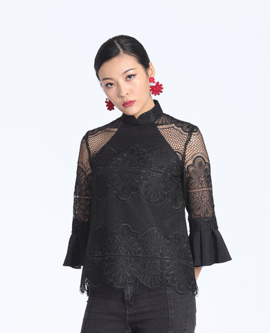 Black Floral Lace Top With Ruffled Quarter