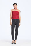 Red Abstract Jacquard See-Through Shoulder Mesh Top